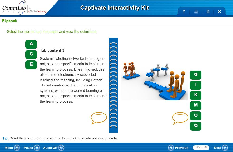 Flip Book Interactivity Developed in Captivate