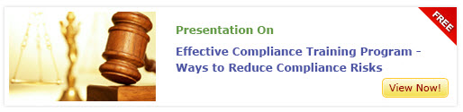 "View the presentation on ""Effective Compliance Training Program - ways to Reduce Compliance Risks"""