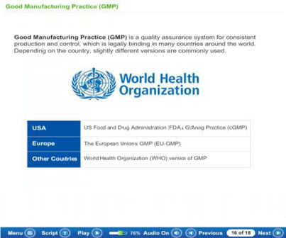 ScreenShot from a GMP Compliance Course