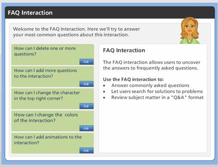Screenshot Showing the FAQs Developed in Articulate Storyline