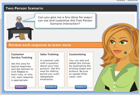 Screenshot Showing Two People Scenario Developed in Articulate Storyline