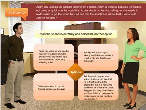 Screenshow Showing the Tradional Scenarios Developed in Articulate Storyline