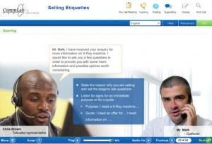 Screenshot of Scenario Showing a Sales Call