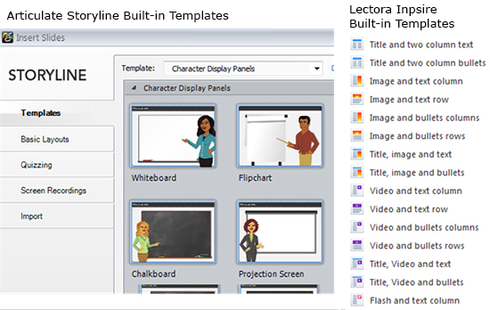 Built-in Templates in Storyline and Lectora Inspire