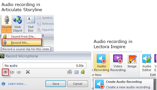 Record Audio in Storyline and Lectora Inspire