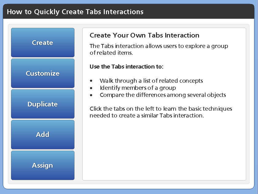 Tabs Developed in Articulate Storyline