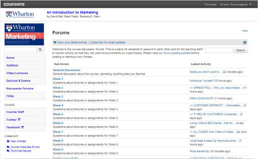 Coursera Discussion Forums