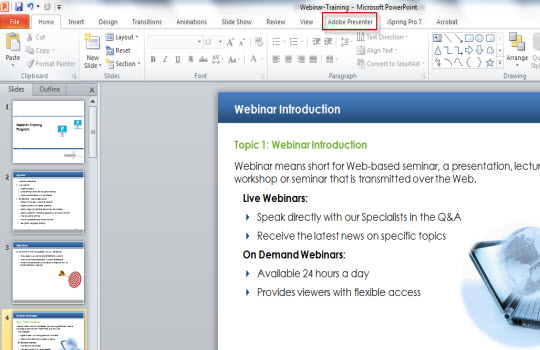 Adobe presenter tab there as highlighted below