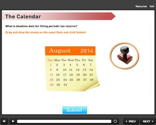 The calendar interactivity