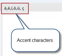 Accent characters