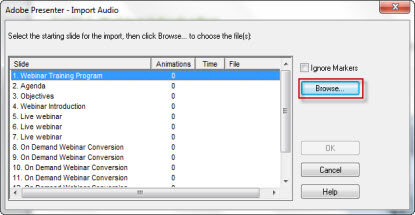 Importing audio slide-wise
