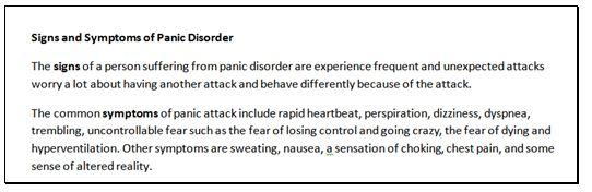 Panic symptoms