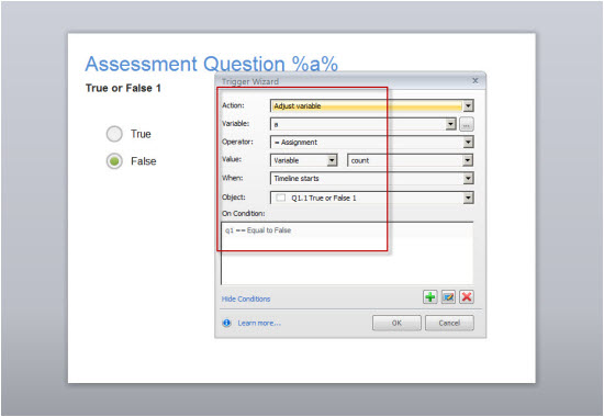 Assigning the count value to the numeric variable of a slide