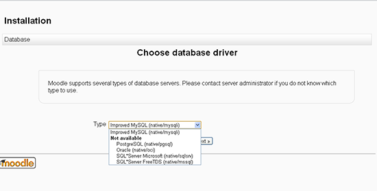 Choose database  driver