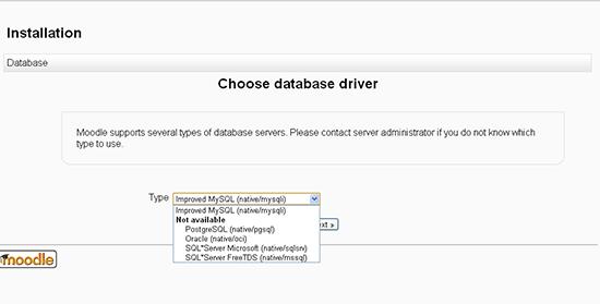 Choose database  driver