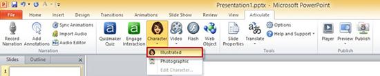 Click Illustrated tab in Character Dropdown Menu