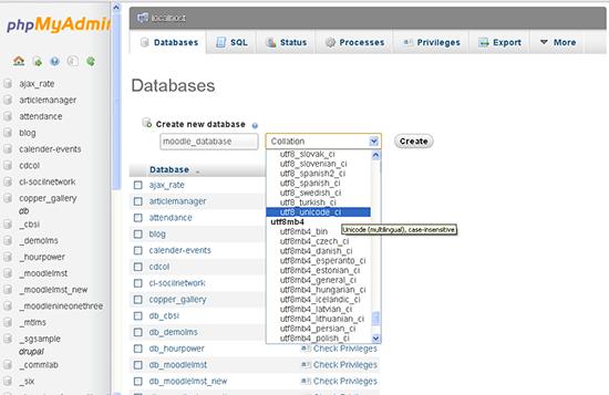 Create one empty database