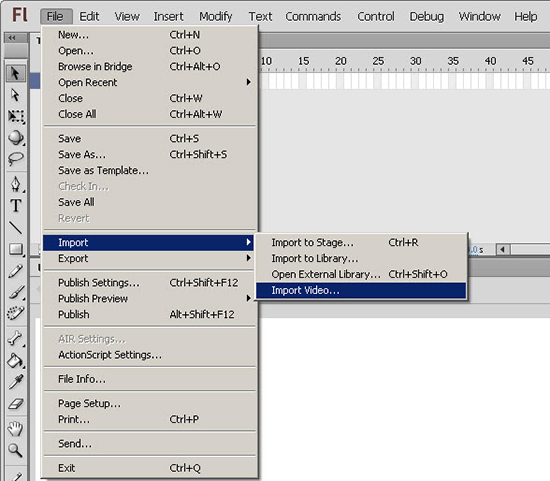 Import Video to the Flash document