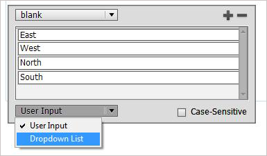 In the window we can see User Input and Dropdown List