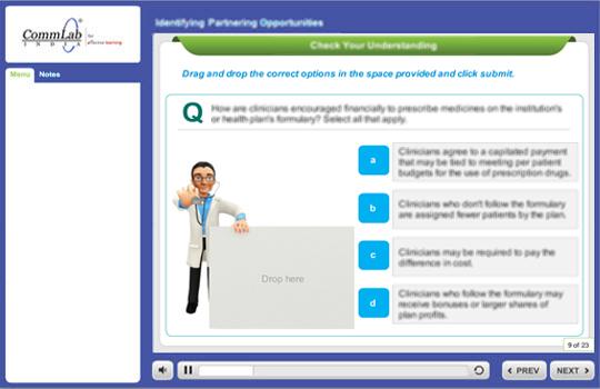 Screenshots of drag and drop interactivities