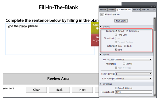 Select Fill-In-The- Blank from the list and Click Ok