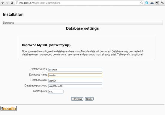 Select the database settings