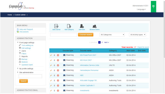 Customized user administrator page in moodle