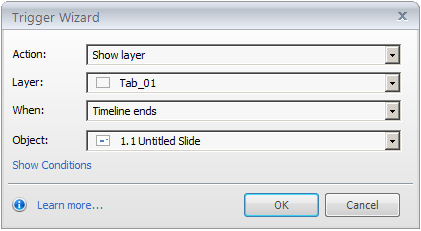 Show layer Trigger wizard