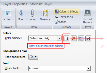 Create new color scheme and select show advance color