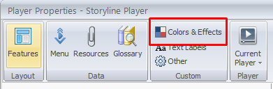Select colors and effects from player properties