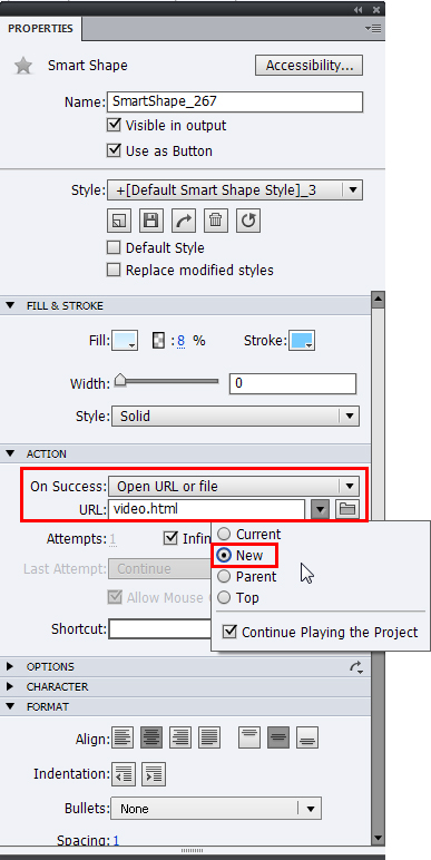 Selected file in new window