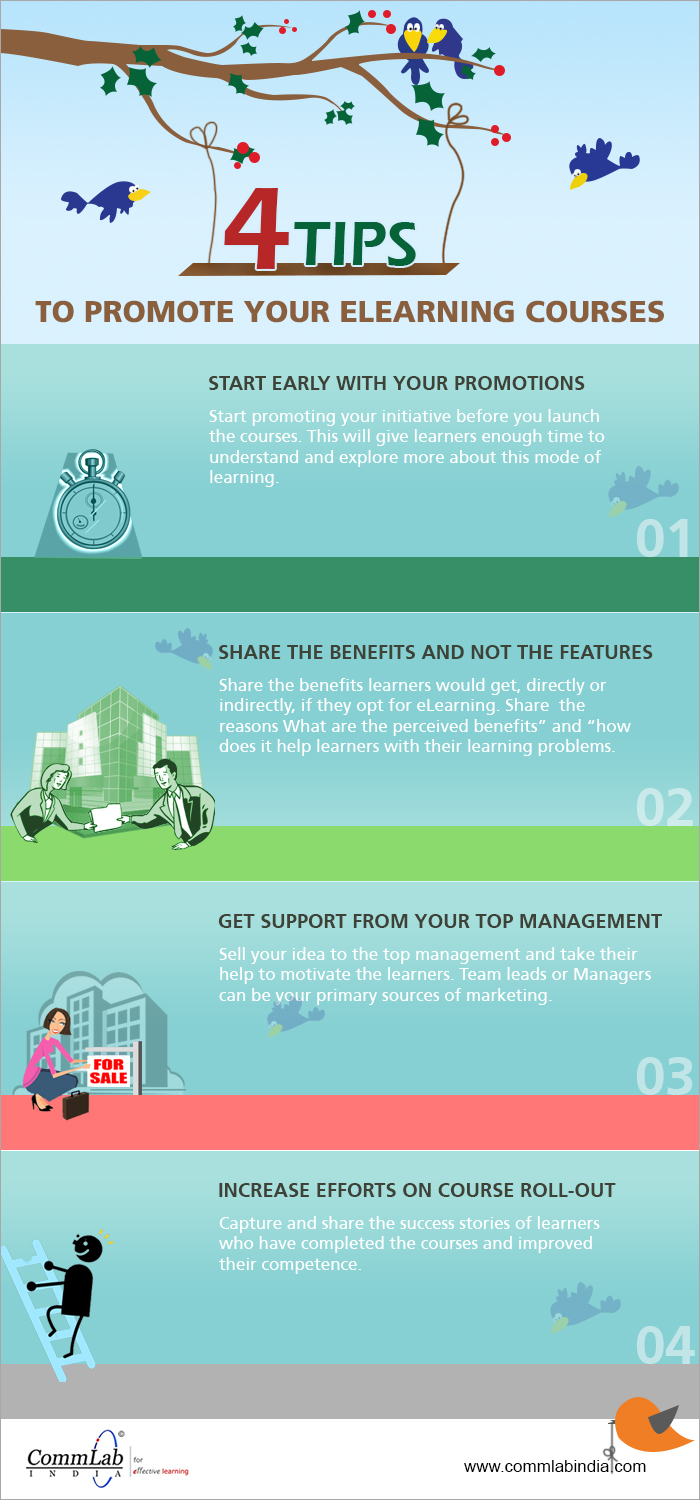 Four Tips to Promote E-learning Courses - An Infographic