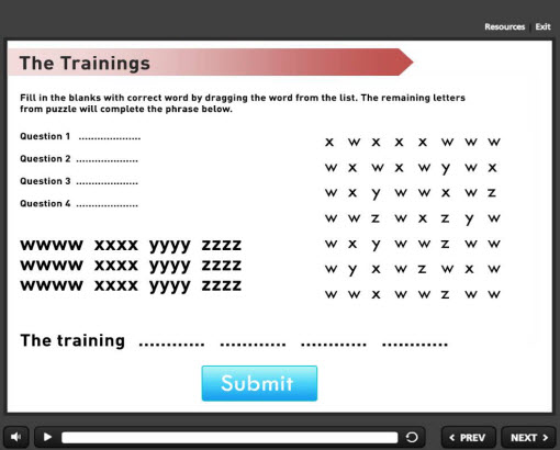 word search puzzles works in the eLearning
