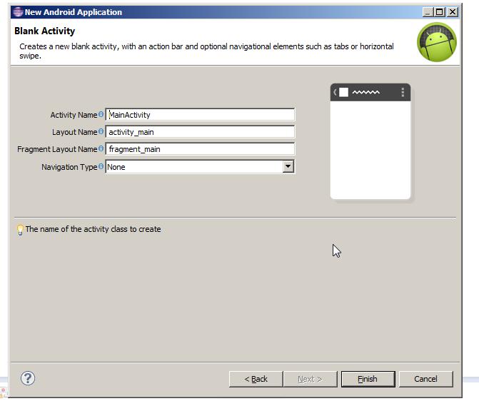 Activity Name Creation Screen