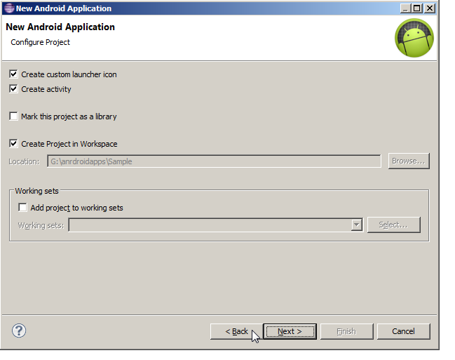 Configure Project Screen