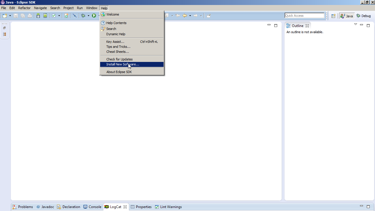 Eclipse IDE Screen