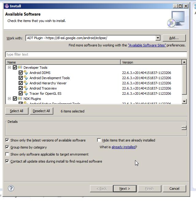 Installing Developer Tools Screen