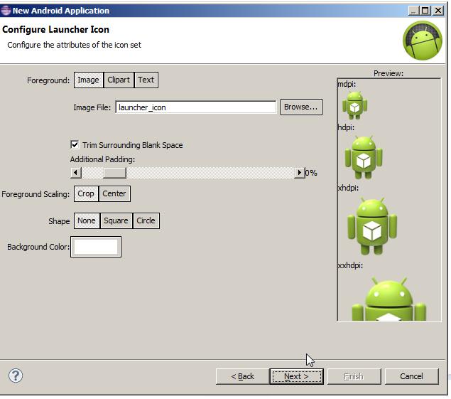 Launcher Icon Creation Screen