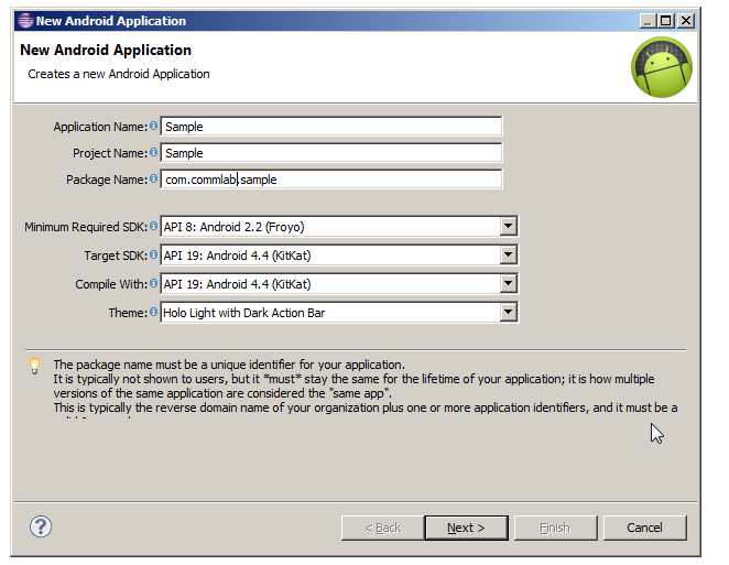 New Application Creation Screen