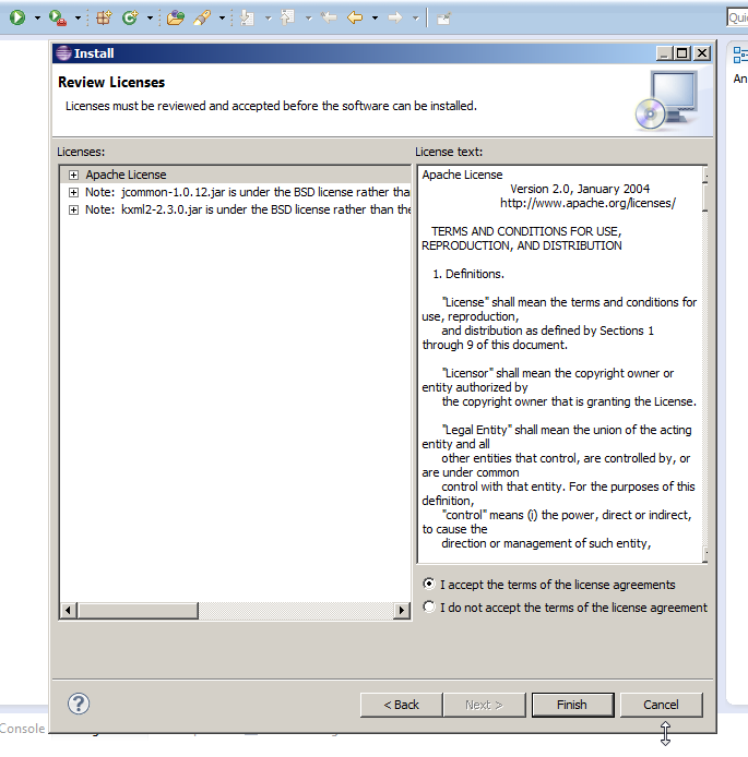 Review Licenses Screen