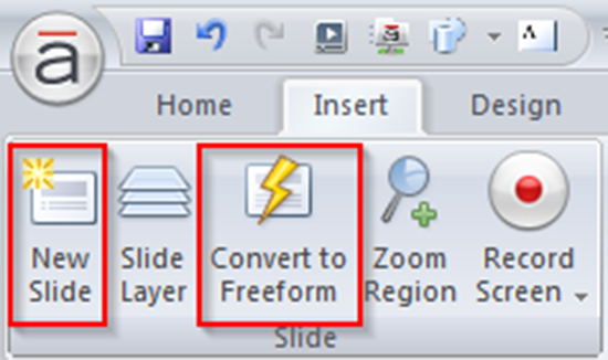 From Convert to Freeform option of Insert tab 1