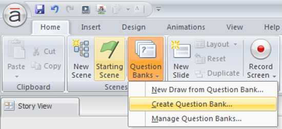 Select Create Question Bank option 2