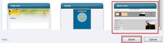 Select jigsaw puzzle and click insert button