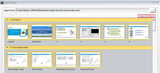 Steps to insert slides into storyline