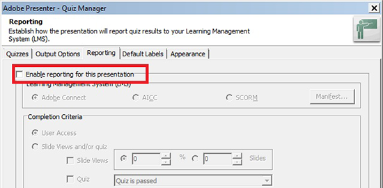 Enable reporting