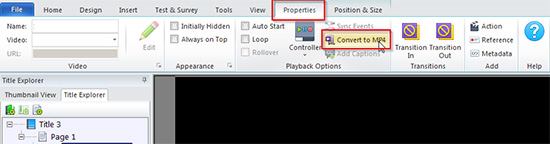 Convert a video file format to MP4 in Lectora
