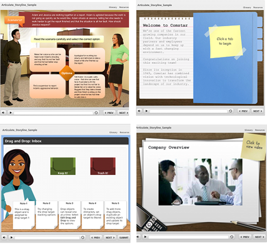 Developing Scenarios through Articulate Storyline Templates and Characters