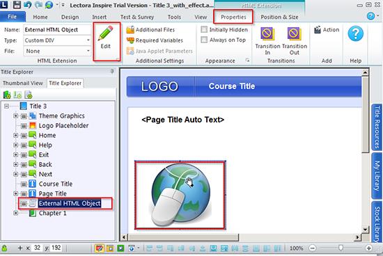 """Edit an """"External HTML object"""""""