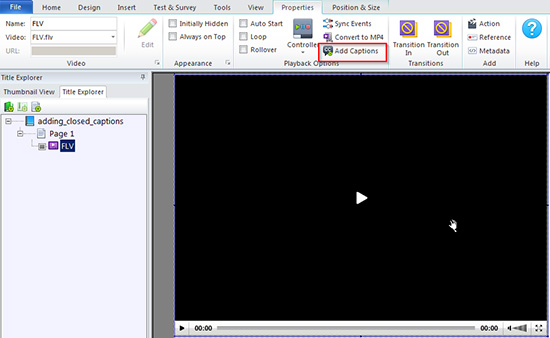 Enable Add Captions option by converting a video into either FLV Mp4