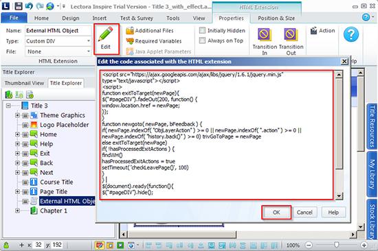 """Insert a code into an """"Edit"""" window"""